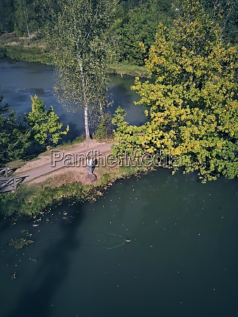 drone shot of woman standing by