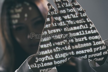 projected words on womans palms