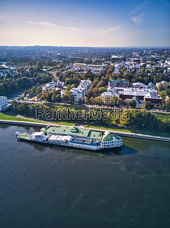 drone shot of city by volga