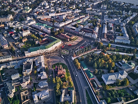 aerial view of yaroslavl city on