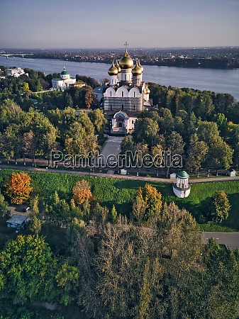 aerial view of assumption cathedral by
