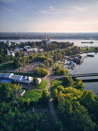 aerial view of park at strelka
