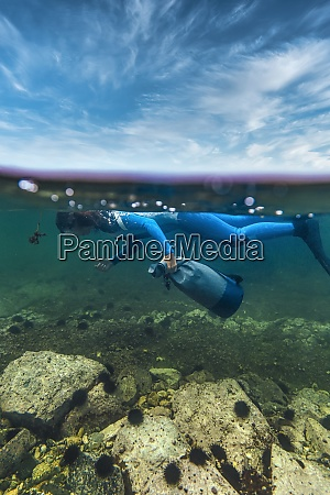 woman in diving suit collecting sea