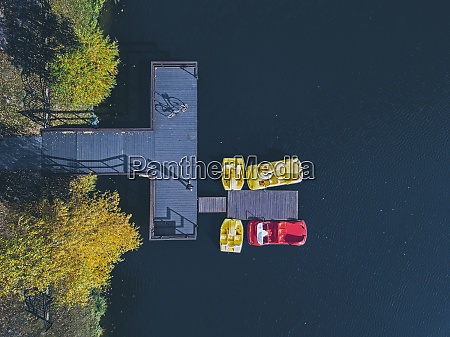 aerial view of pedal boats moored