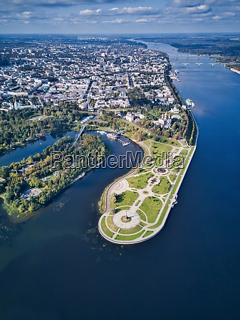 aerial view of park by city