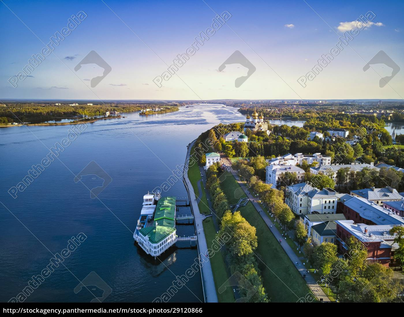 drone, shot, of, embankment, at, volga - 29120866