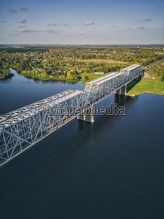 metallic, railway, bridge, over, volga, river - 29120708