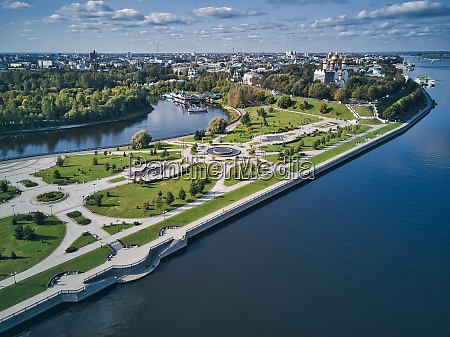 aerial view of park amidst volga