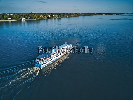 ship with wake on blue volga