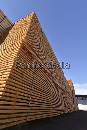 planks stacked in lumberyard