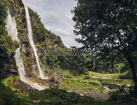 acquafraggia waterfalls in valchiavenna valley italy