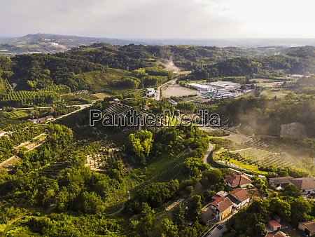 drone view of countryside landscape in