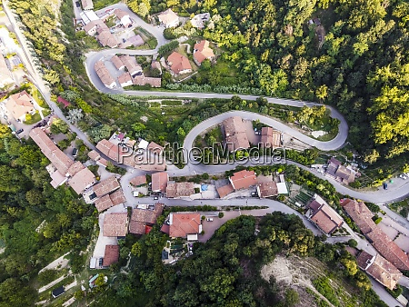 drone view of roads winding through