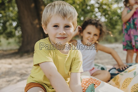 smiling kids spending leisure time at