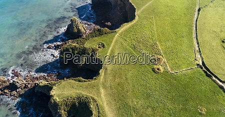 aerial view of green grassy coastal