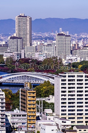 japan osaka cityscape as seen from
