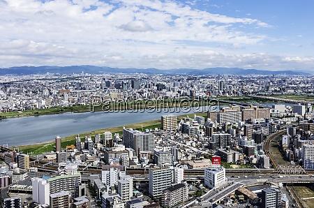 japan osaka cityscape and yodo river