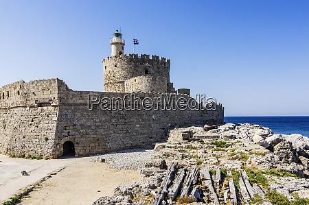 greece rhodes mandraki harbour lighthouse