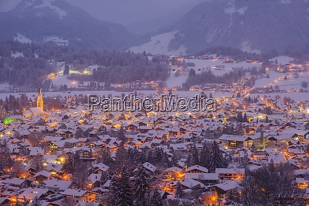 germany bavaria view to snow covered