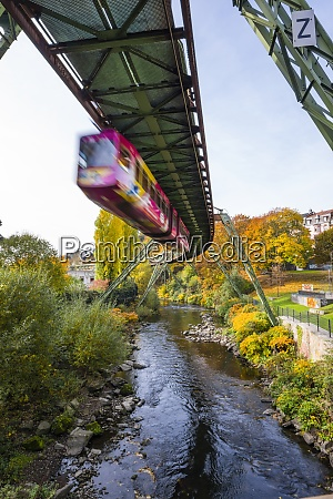 germany wuppertal driving overhead railway in