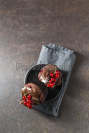 studio shot of chocolate cupcakes with