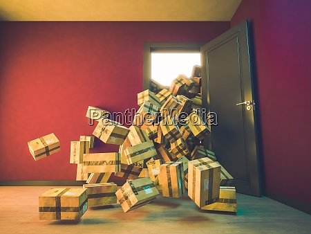 mountain of packages falling inside a