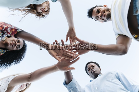 low angle view of friends bring