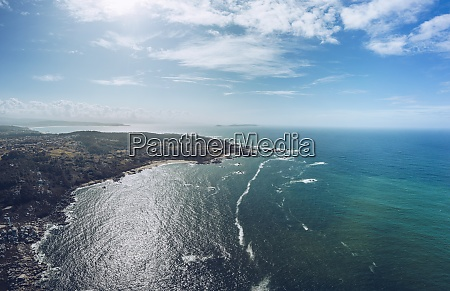 aerial view of sea and land