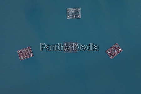 aerial view of fish farm on