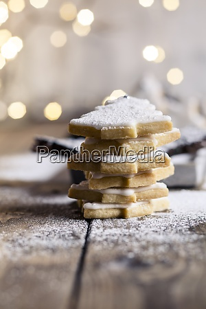 stack of tree shaped christmas cookies