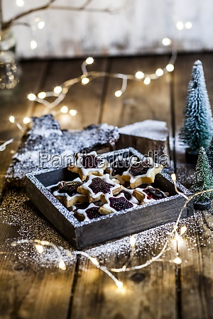 christmas lights and tray of star