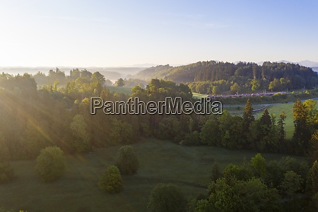 drone view of alpine foothills at