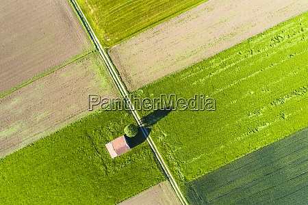 drone view of dirt road stretching