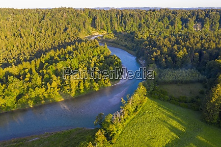 drone view of isar river flowing