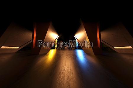 three dimensional render of dark futuristic