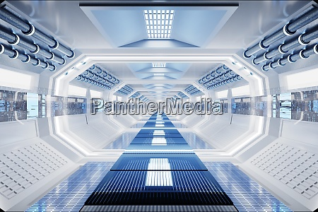 3d rendering interior of space station