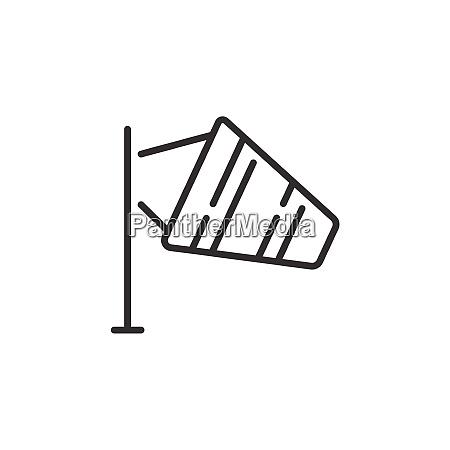 medium wind thin line icon outline