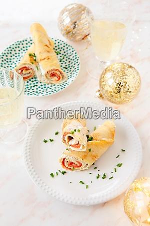 salmon pancake rolls