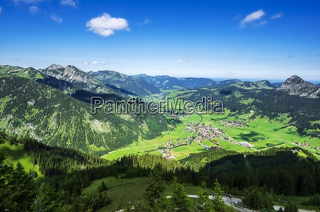 austria tyrol town in scenic tannheimer