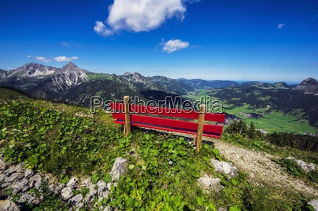 austria, , tyrol, , red-painted, bench, along, trail - 29126588