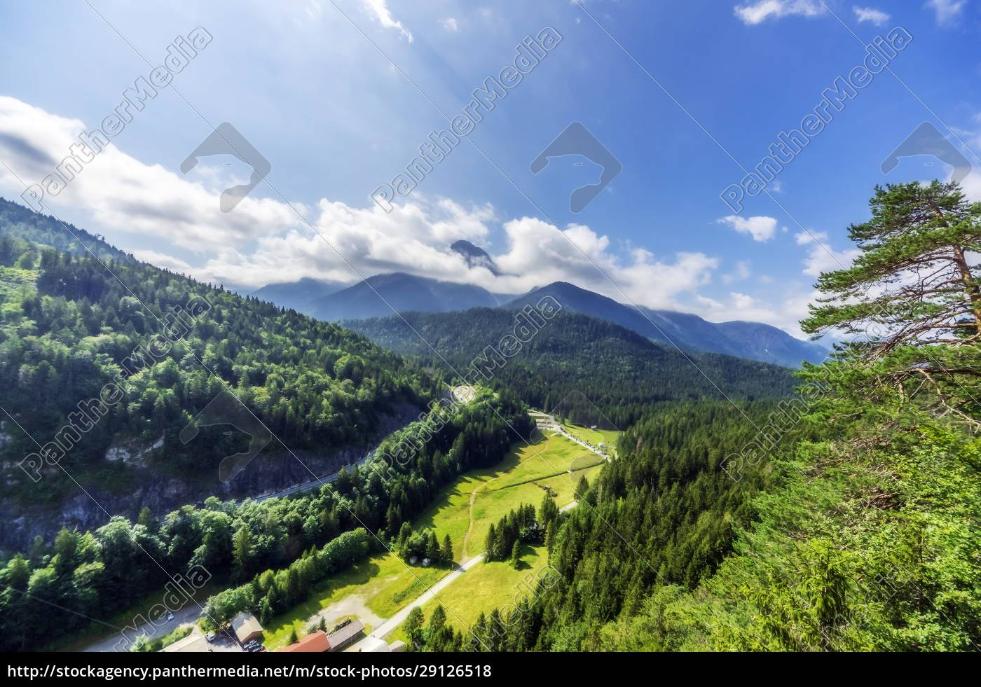 austria, , tyrol, , reutte, , green, forested, valley - 29126518