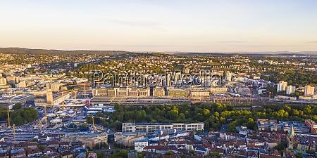 germany baden wurttemberg stuttgart aerial panorama