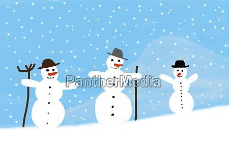 childrens painting of three snowmen