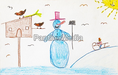 childrens drawing of snowman