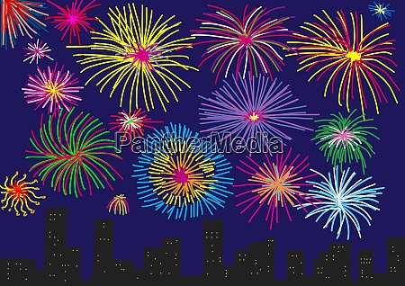 childs drawing of colourful fireworks over