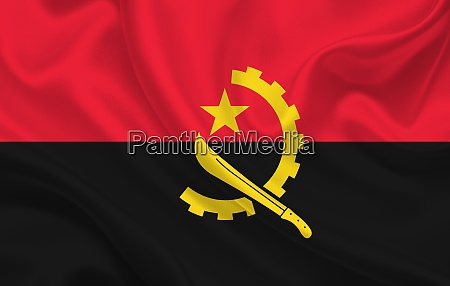 angola country flag on wavy silk