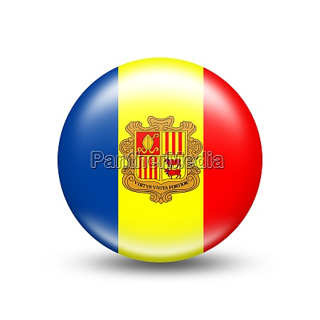 andorra country flag in sphere with