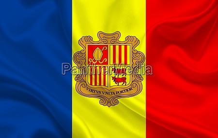 andorra country flag on wavy silk