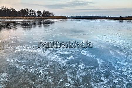 frozen lake ice surface