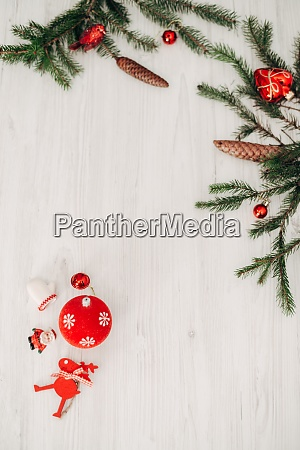 christmas red decorations on a white